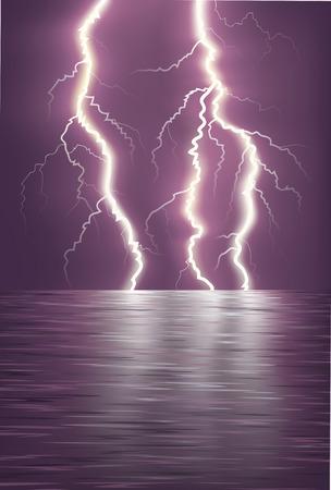 Lightning over the sea horizon.