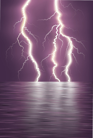disaster: Lightning over the sea horizon.