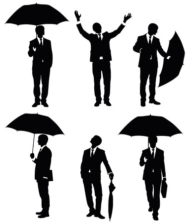 Set of silhouettes of a businessman with an umbrella.