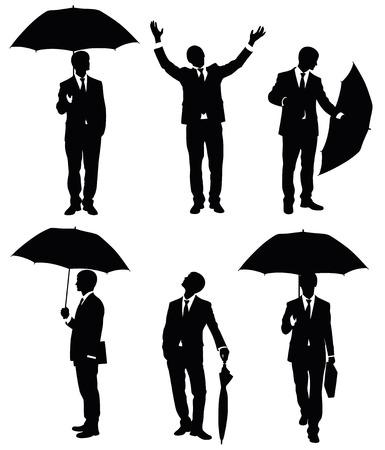 Set of Silhouettes of ein Geschäftsmann mit einem Regenschirm. Standard-Bild - 7801805