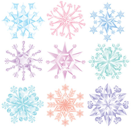 Set of diamond snowflakes. Stock Vector - 8045601