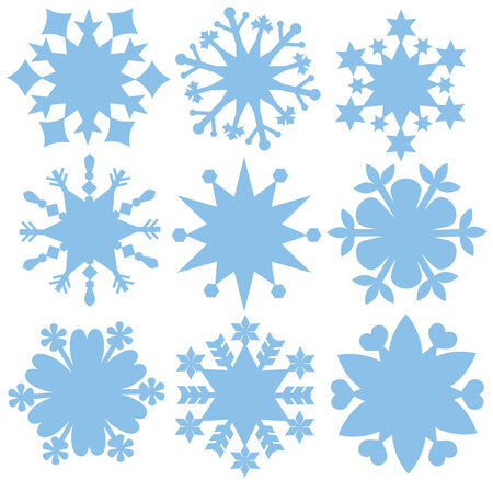Set of silhouettes of simple snowflakes. Stock Vector - 8019884