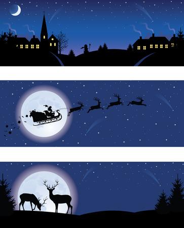 santa sleigh: Christmas banners.