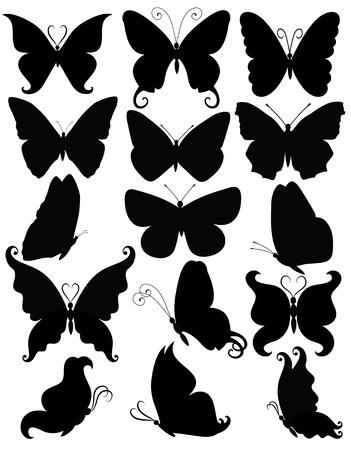 silhouette papillon: Jeu de silhouettes d'un homme d'affaires papillons.