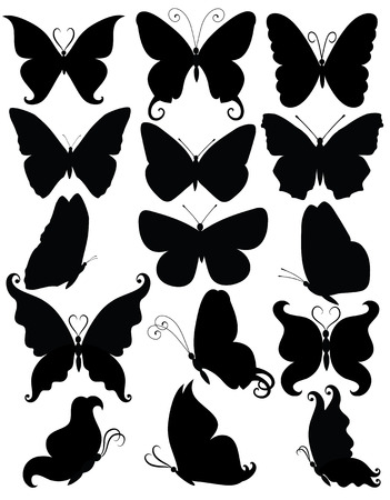Set of silhouettes of a businessman butterflies. Çizim