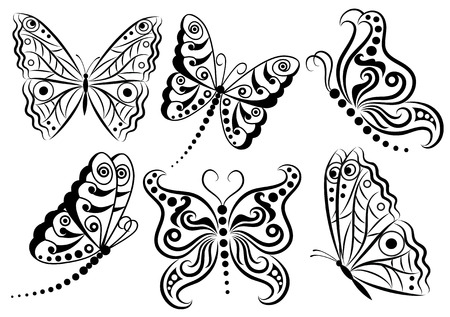 Set of butterflies.
