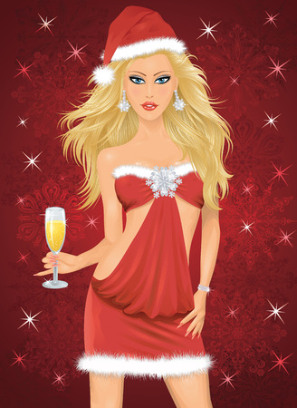 Blonde woman in a santa costume holding a glass of champagne. Vector