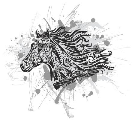 paardenhoofd: Patroon in een shape van een paard op de grunge achtergrond. Stock Illustratie