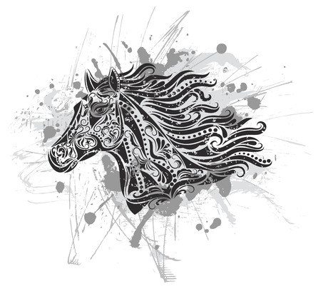 black horses: Pattern in a shape of a horse in the grunge background. Illustration