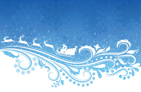 Silhouette of a woman santa on a sledge and the pattern on a blue background. Vector