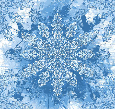 Pattern in a shape of a snowflake on the grunge blue background. Stock Vector - 8203958