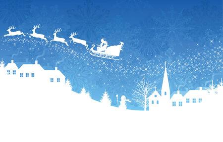 Silhouette einer Frau, die Santa auf einem Schlitten durch magische Deers flying over ein Dorf auf dem blauen Hintergrund genutzt. Standard-Bild - 8301789