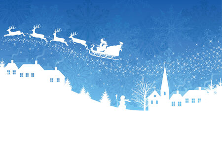 Silhouette of a woman santa on a sledge harnessed by magic deers flying over a village on the blue  background. Vector