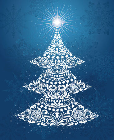 Pattern in a shape of a christmas tree on the blue background. Vector
