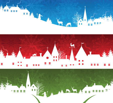 the village: Set of a christmas banners Illustration