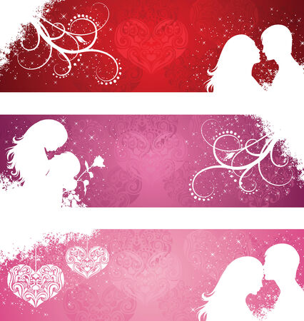 Set of a valentines day banners. Vector