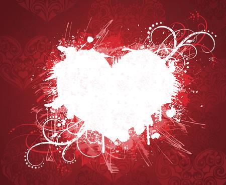 Grunge valentine's day banner in red colors. Illustration