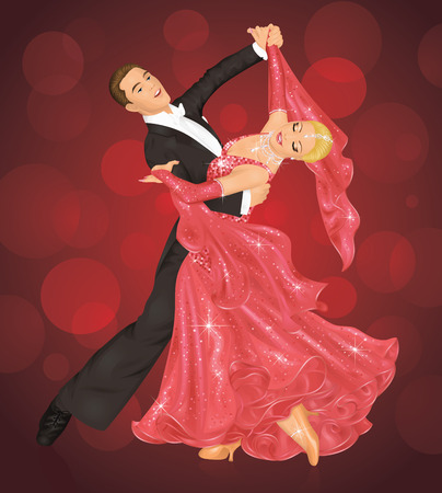 Couple is ballroom dancing on the red background. Illustration