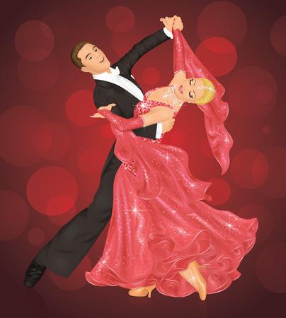 összpontosított: Couple is ballroom dancing on the red background. Illusztráció