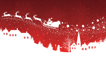 Silhouette of a woman santa on a sledge harnessed by magic deers flying over a village with gifts flying off on the red  background. Vector