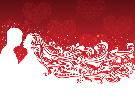 Silhouette of a man and a woman woman with abstract hair on the red background.