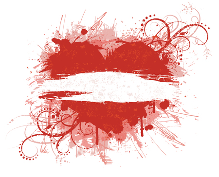 Grunge valentines day banner in red colors. Vector