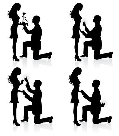 Silhouettes d'un homme propose à une femme debout sur un genou.