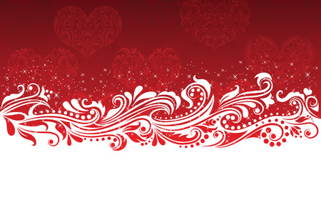 Pattern on the red background with hearts. Vector