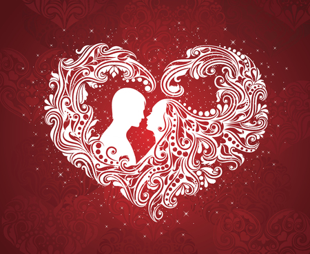Silhouette of a man and a woman with abstract hair in a shape of a heart. Çizim