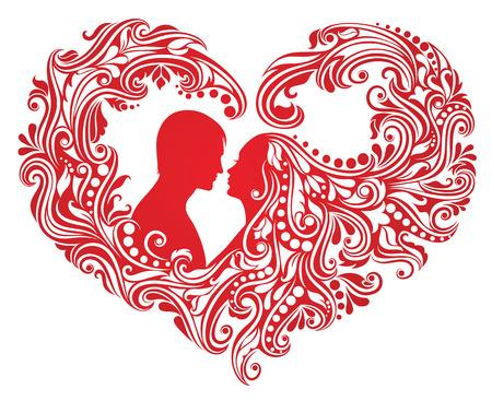 Silhouette eines Mannes und einer Frau mit abstrakten Haar in eine Form eines Herzens. Standard-Bild - 8666634