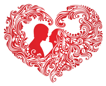 Silhouette of a man and a woman with abstract hair in a shape of a heart. Illustration