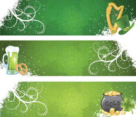 irish background: Set of a St. Patricks Days day banners.