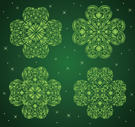 Set of a pattern in a shape of a clover. Stock Vector - 8807357