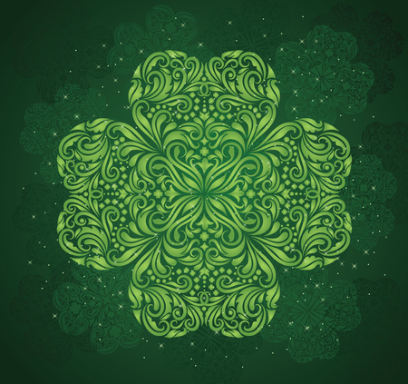 irish culture: Pattern in a shape of a clover on the green background.