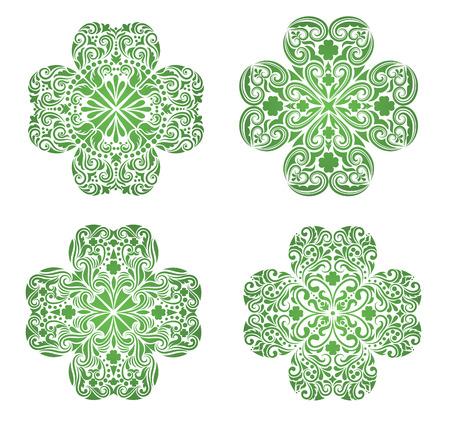 irland�s: Conjunto de un patr�n en forma de un tr�bol.