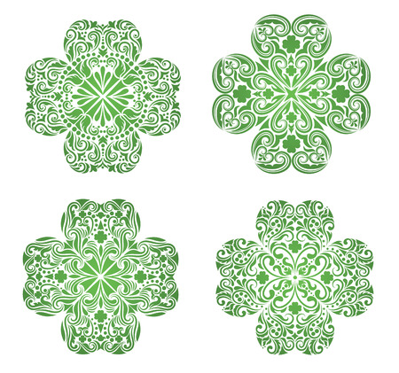 irish culture: Set of a pattern in a shape of a clover.