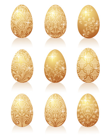 Set of gold eggs. Vector