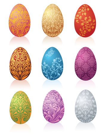 Set of eggs in different colors. Vector