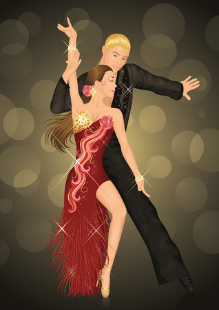 ballroom: Couple is latino dancing on the dark background. Illustration