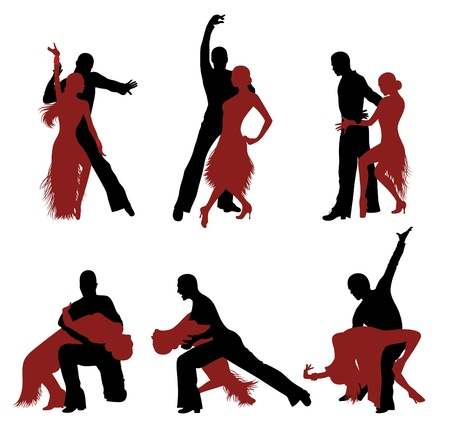 Set of silhouettes of a dancing couple. Stock Vector - 9329446