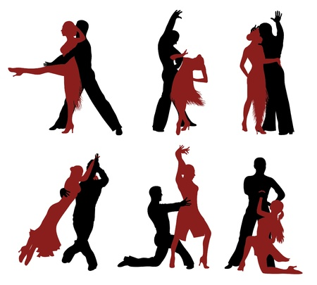 tangoing: Set of silhouettes of a dancing couple.