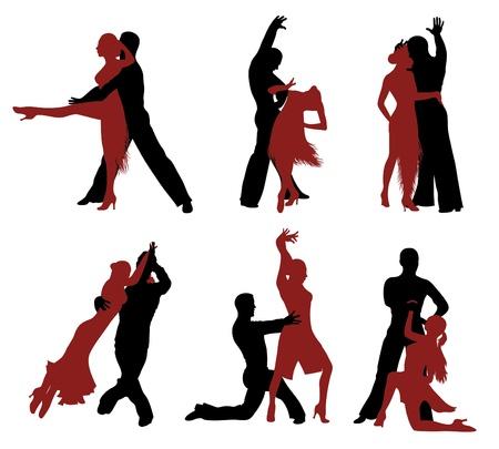 Set silhouetten van een dansend paar. Vector Illustratie