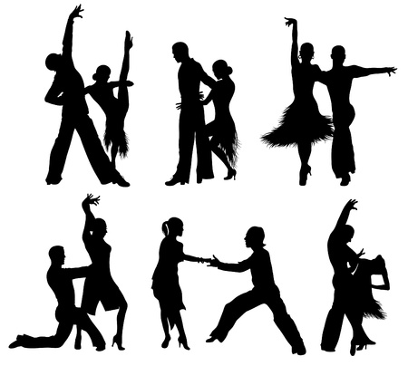 beauty contest: Set of silhouettes of a dancing couple.