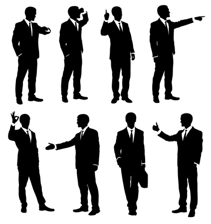 Set of silhouettes of a businessman. Vector