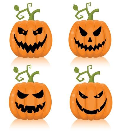 Set of a scary halloween pumpkin. Vector