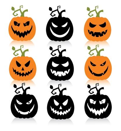 calabaza: Conjunto de una calabaza de halloween de miedo. Vectores