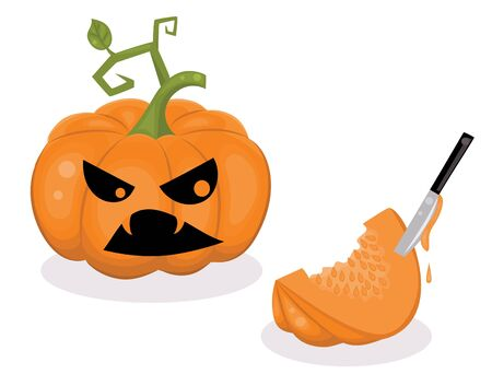 spook: Scared pumpkin and a piece of a pumpkin with a knife inside.