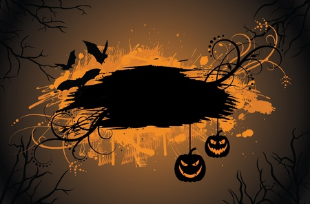 Grunge halloween background with bats and pumpkins. Vector