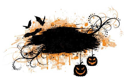 Grunge halloween banner with bats and pumpkins. Çizim