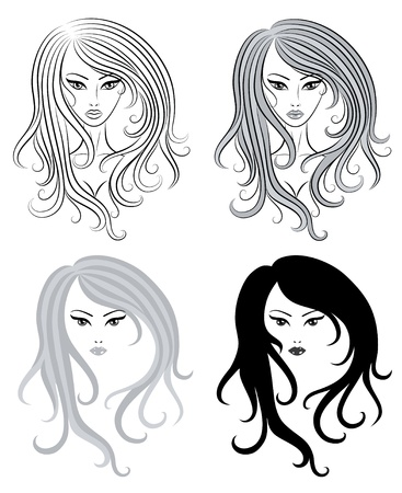 Set of a cute girls.  Vector
